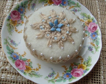 Cake Pincushion Off-White and Blue with Vintage China Saucer Pinkeep Cottage Chic