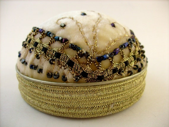 Art Deco Style, Flapper Hat Pincushion, Jewelry Stand, Hat Pin Stand, Gold and Black Pinkeep