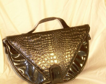 Vintage Patten Leather Purse in Briefcase style Pure Stilletoranch Retro 60s style