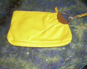 Yellow Clutch with Handle Wristlet