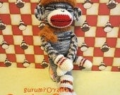 crochet sock monkey pattern, amigurumi stuffed monkey plush toy tutorial, instant download