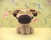 crochet dog pattern, amigurumi Pug stuffed plush toy tutorial, instant download