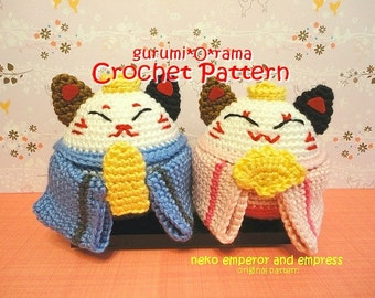 amigurumi Neko cat crochet pattern, Emperor Empress stuffed toy crochet tutorial, instant download