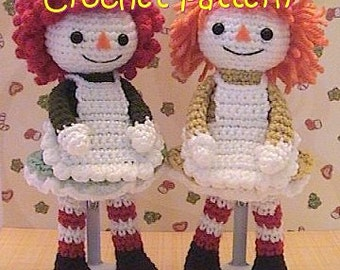 crochet Doll pattern, girl rag doll stuffed toy plush crochet tutorial, instant download