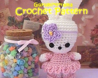 crochet girl bunny amigurumi pattern, kawaii crochet stuffed bunny toy plush tutorial, instant download