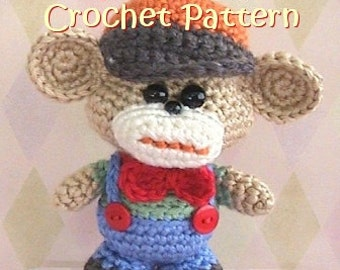 kawaii amigurumi crochet monkey pattern, toy plush stuffed monkey tutorial, instant download