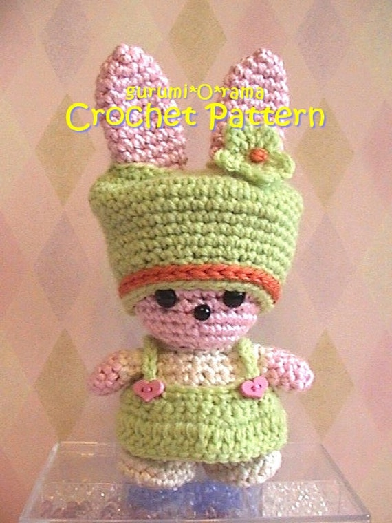 kawaii amigurumi bunny pattern, crochet PDF guide, Instant Download
