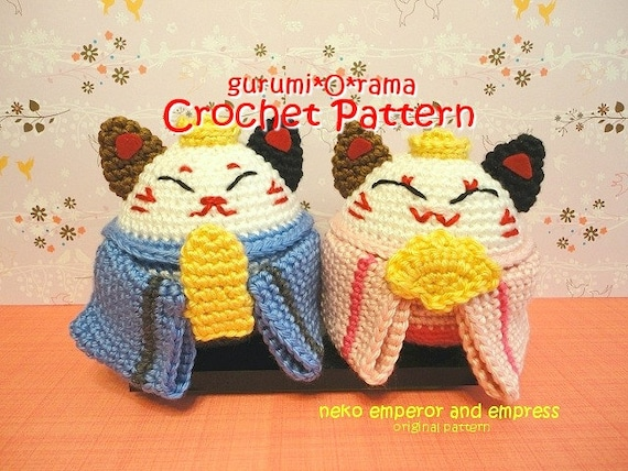 amigurumi Neko cat crochet pattern Emperor Empress stuffed