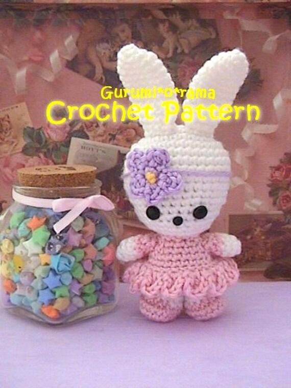 girl bunny amigurumi pattern, kawaii crochet stuffed bunny toy plush tutorial, instant download