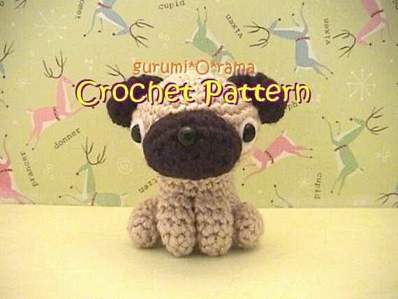 Free Crochet Pattern For Pug Dog : amigurumi Pug crochet dog pattern PDF guide INSTANT by ...
