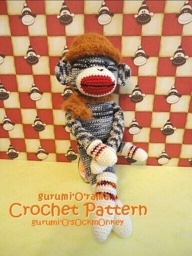 Amigurumi Crochet Sock Monkey : crochet sock monkey pattern amigurumi stuffed monkey plush