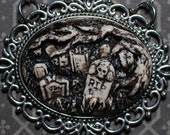 Halloween Necklace  - Creepy Old  Victorian Cemetery Cameo Necklace with Tombstones - Ivory