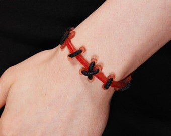 Frankenstein Natural stitches Bracelet (Flesh2) with Handpainted Blood-2PC Set