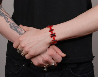 Stitches  Bracelet  Jewelry  - Frankenstein  Set of 2 bright  red/black Thin Stitches