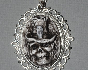 Halloween Jewelry - Gothic Necklace- Zombie Necklace - Creepy Skull Ghoul with Casket Motif Top hat Cameo