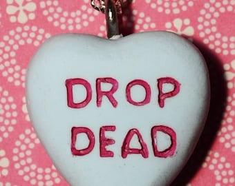 Candy Heart  Pendant Necklace  - Drop Dead Candy Heart  - Blue