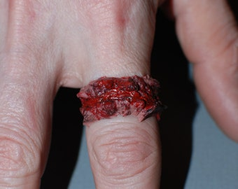 Halloween Costume Jewelry  - two Chopped Flesh Rings - Extra Chunky