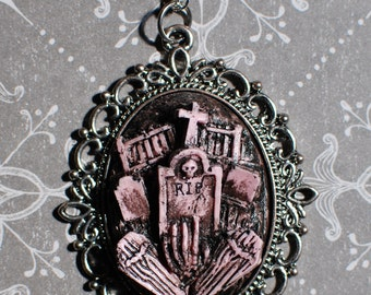 Halloween  Necklace  - Creepy Cute Gothic Necklace  -  Cemetery Necklace with Tombstones Caskets and Skeleton Hand-Putrid Pink
