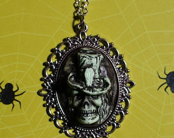 Skeleton Skull with tophat Cameo   Jewelry - Creepy Cute Gothic Necklace  -  Hand-Deadly Nightshade Green