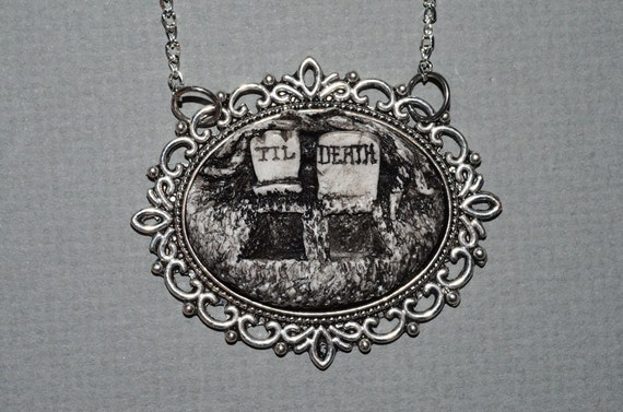 Creepy Cute Valentine Gothic Cameo Necklace  -  Till Death Double Grave
