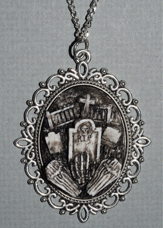 Creepy Cute Gothic Necklace  - Victorian Cemetery Necklace with Tombstones Caskets and Skeleton Hand- Zombie  Vampire