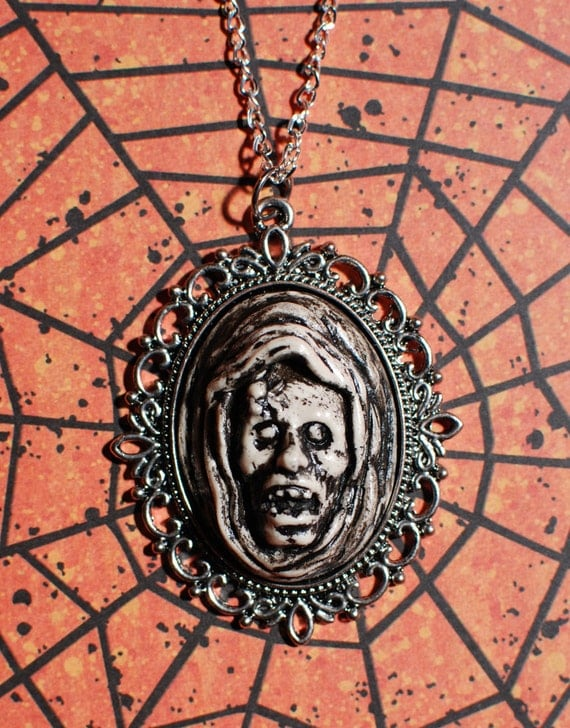 Zombie Halloween Jewelry -  The Ghoul - Creepy Gothic Cameo Necklace-Ivory