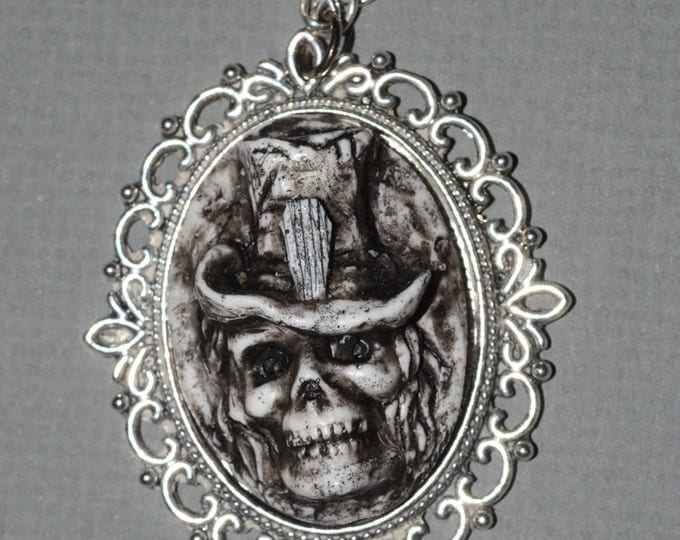 Zombie Skull Necklace - Creepy Skull Ghoul with Casket Motif Tophat Cameo