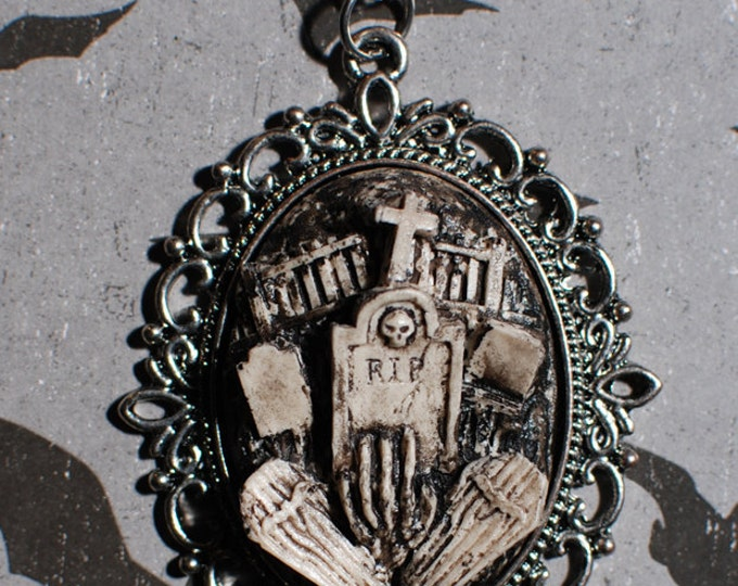 Halloween  Jewelry - Creepy Cute Gothic Necklace  - Victorian Cemetery Necklace with Tombstones Caskets and Skeleton Hand- Zombie - Ivory
