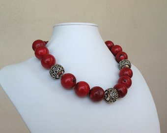 Bold Red Coral and Silver Island Princess Necklace