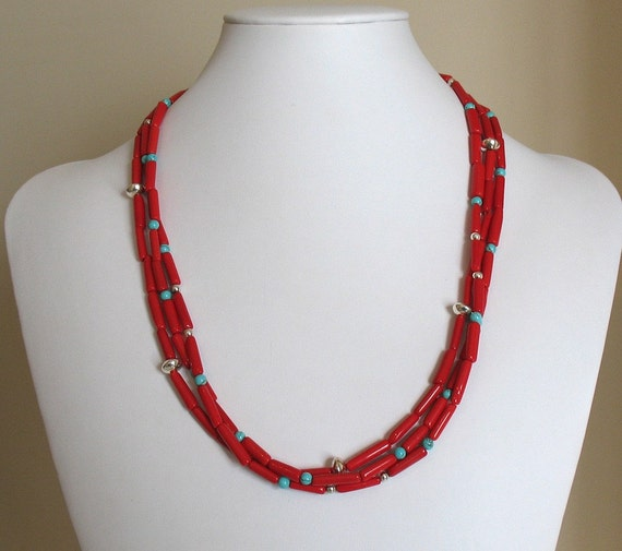 Coral Tubes, Turquoise, and Silver Necklace