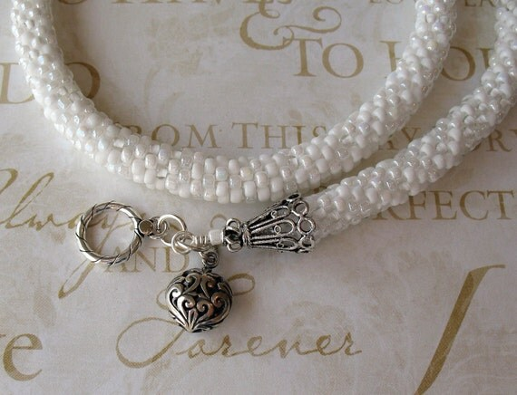 Mixed Whites Bead Crochet Wedding Necklace