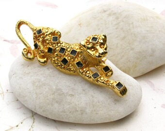 Gold Tone Leopard Brooch with Black Enamel Spots