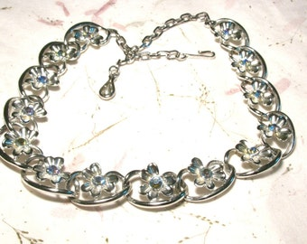 Vintage Coro Aurora Borealis Rhinestone Necklace Clover Flower Silver tone
