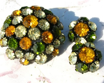 Warner Japanned Domed Brooch Earrings Green, Yellow, Orange