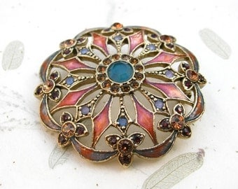 Monet Pink and Blue Enamel Rhinestone Brooch