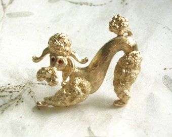 Vintage Poodle Brooch by Monet Gold Tone