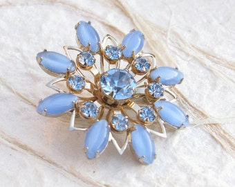 Vintage Blue MoonGlow and Rhinestone Gold Tone Brooch