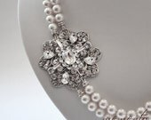 Victoria Bridal Necklace made out of Swarovski Pearls and Swarovski Rhinestones Flower Accent by Mauve Binchely / Weddings / Bridal Jewelry