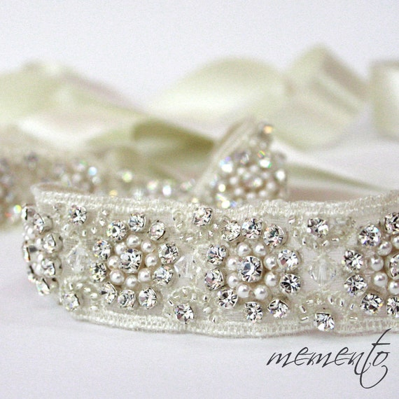Tiffany Glamorous and Sparkle Bridal Sash / Beaded Belt / Beaded Ribbon Headband with Swarovski Elements / Lace / Weddings