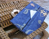 FREE SHIPPING-Eco Friendly, Upcycled Blue, Green and Yellow Flowers in the Garden Fabric Tissue Holder