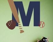 Baseball Monogram - Vinyl Wall Decal Set - Boy Wall Decal - Children Nursery Decor