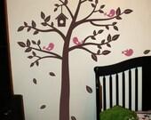 Tree Wall Decal, Nursery Wall Decal, Bird Nursery Decor, Large Vinyl Tree
