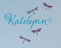 Name Decal, Dragonfly Wall Stickers, Name Decal with Dragonflies, Dragonfly Wall Art, Nursery Wall Decals