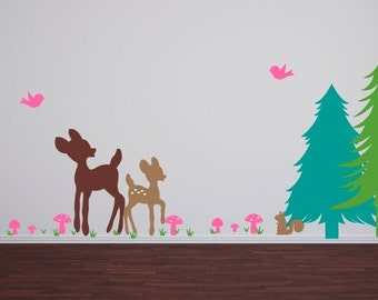 Deer Wall Decal Set, Woodland Wall Decals, Nursery Wall Decals, Childrens Home Decor