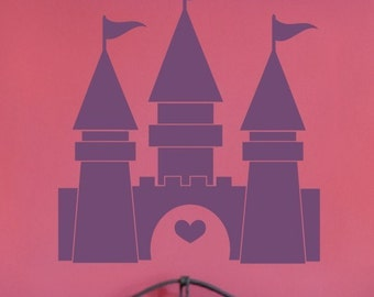 Princess Castle Vinyl Wall Decal, Princess Nursery, Childrens Decals, Nursery Wall Decal, Girls Room