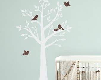 Tree Wall Decal, Tree with Birds Wall Decals, Nursery Wall Decals, Childrens Wall Decals, Bird Nursery