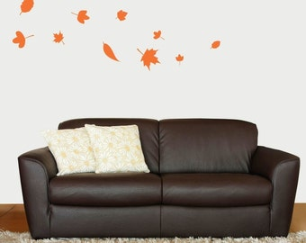 Falling Autumn Leaves Vinyl Wall Decal, Bedroom Wall Decals, Living Room Wall Art
