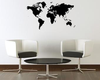 World Map Wall Decal - Map Decal - Map Sticker - Children Wall Decal - Office Decor - Map Vinyl Decal