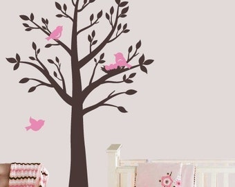 Tree Wall Decals, Tree with Birds Wall Decal, Nursery Wall Decals, Childrens Vinyl Decals, Tree Vinyl Decal, Girls Wall Decal