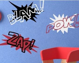 Super Hero Wall Decals, Comic Book Decor, Super Hero Boy Bedroom Decor